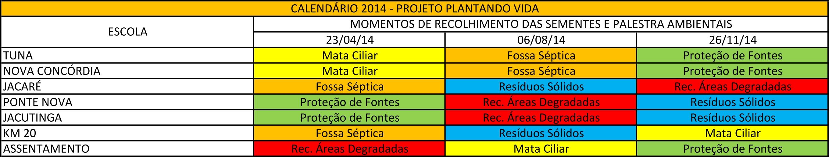 Calendário 2014 plantando vida