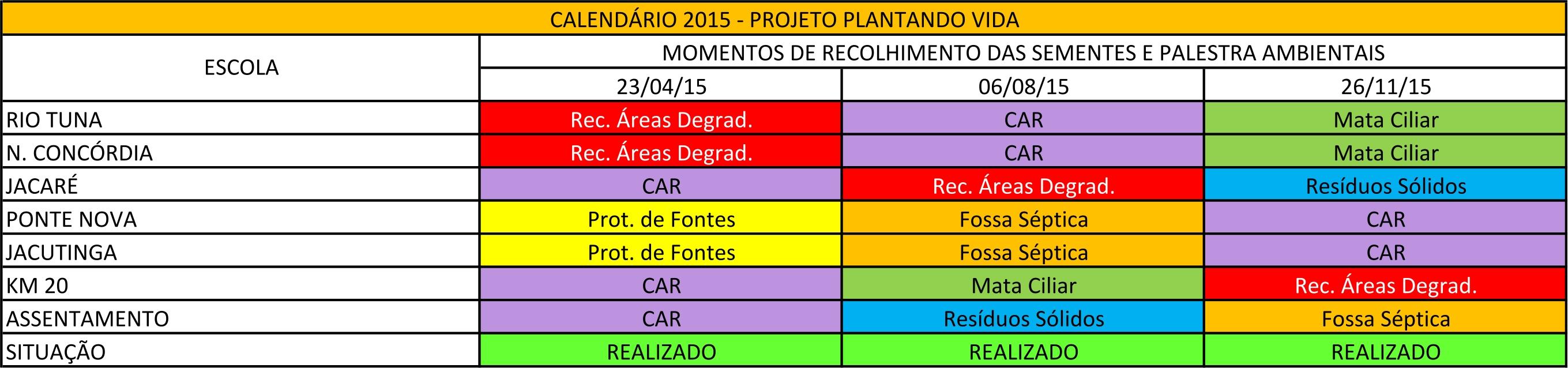 Calendário 2015 plantando vida